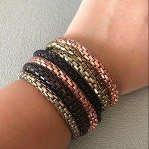 7 Stacked Chain Bracelets Stretchy Gold Brown Rose